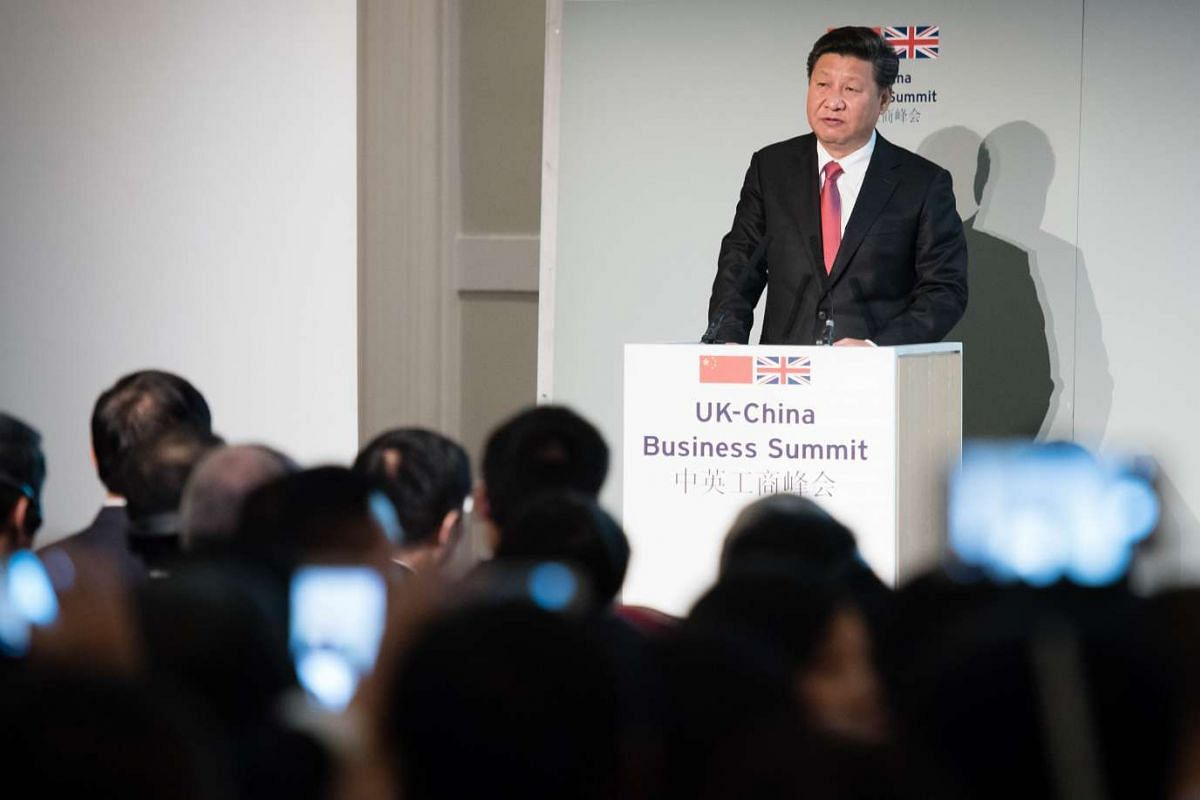 Chinese President Xi Jinping addressing guests and delegates at the UK-China Business Summit in Mansion House, central London, on Oct 21, 2015.