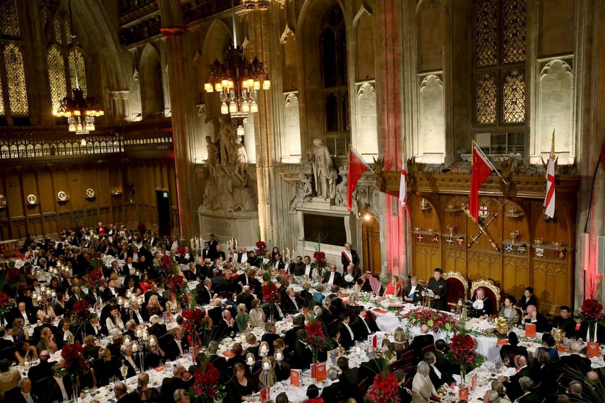 Chinese President Xi Jinping delivering a speech at the China State Banquet at the Guildhall in London, on Oct 21, 2015.