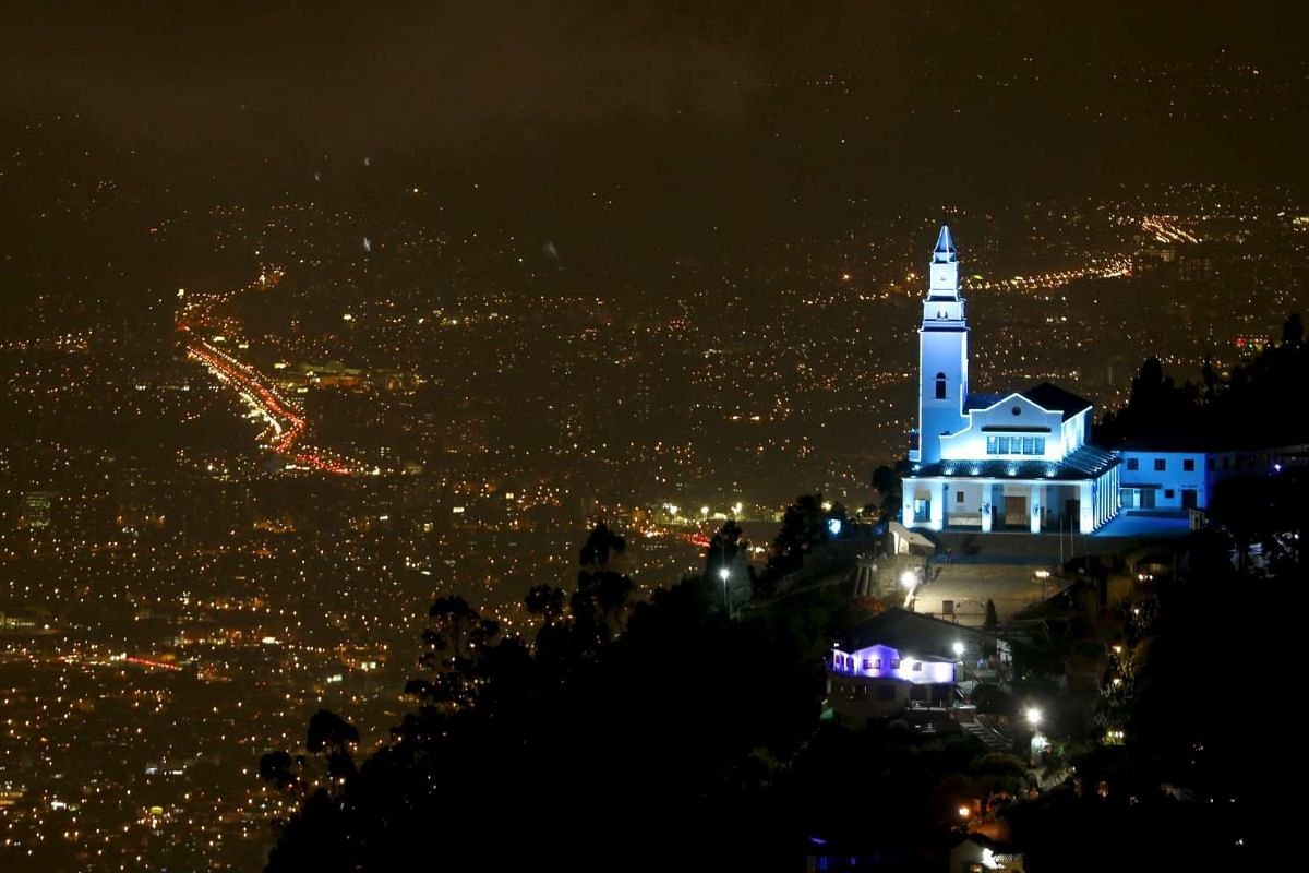 Monserrate mountain and its church in Bogota, Colombia.