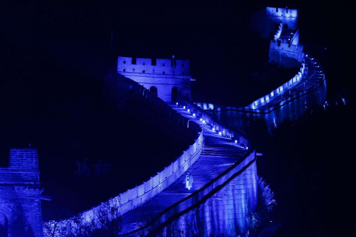 The Great Wall of China in Beijing, China.