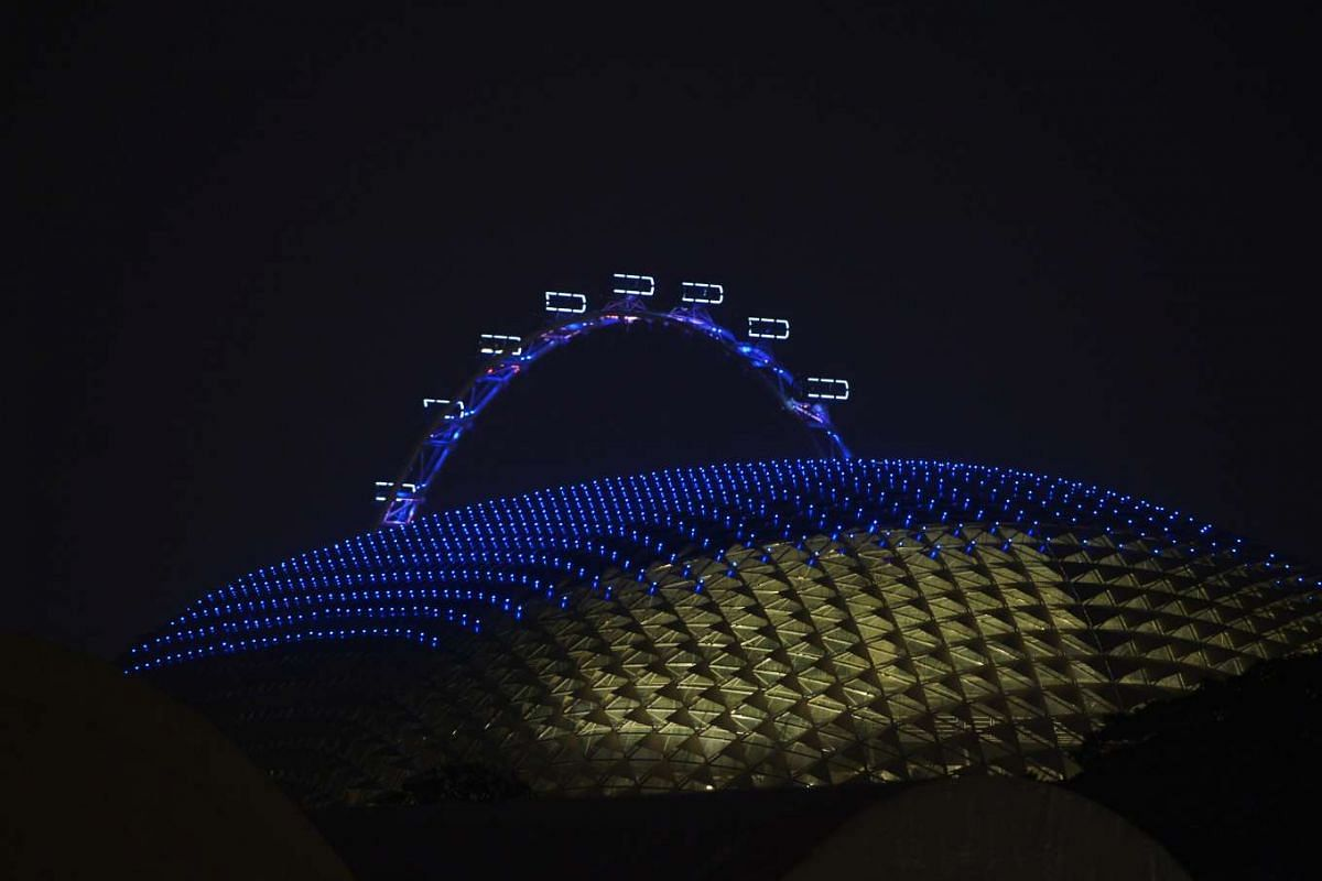 The Esplanade was also lit up in blue to commemorate UN Day.