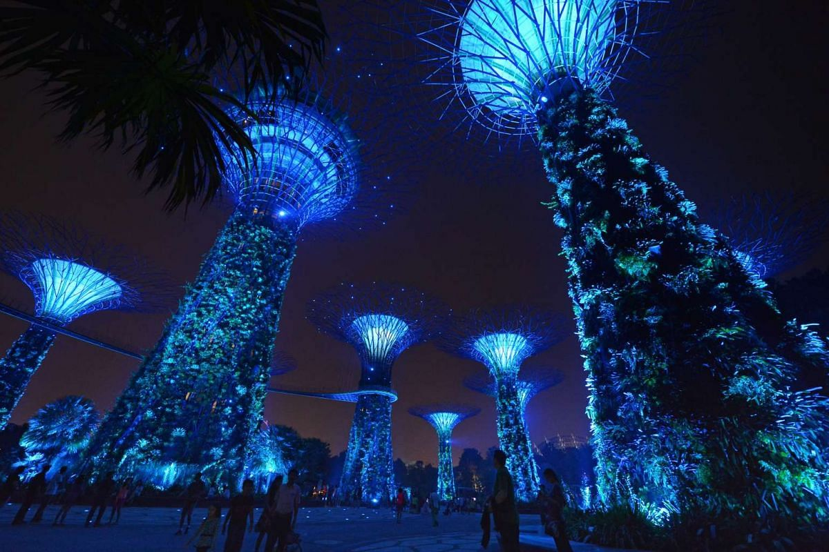 The Supertrees at Gardens by the Bay, one of six landmarks in Singapore that were lit up in blue to commemorate UN Day.