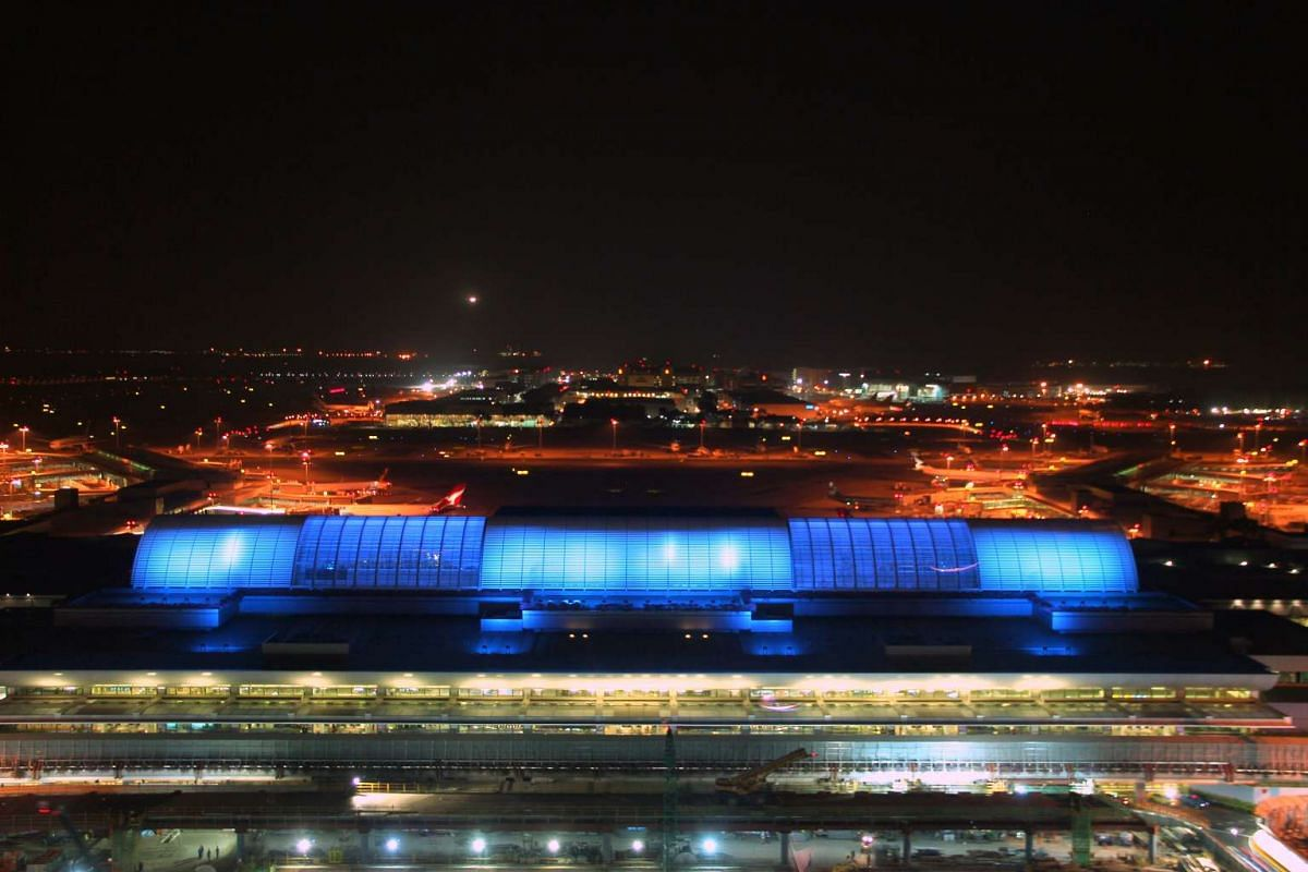 Changi Airport's Terminal 1 lit up in blue too.