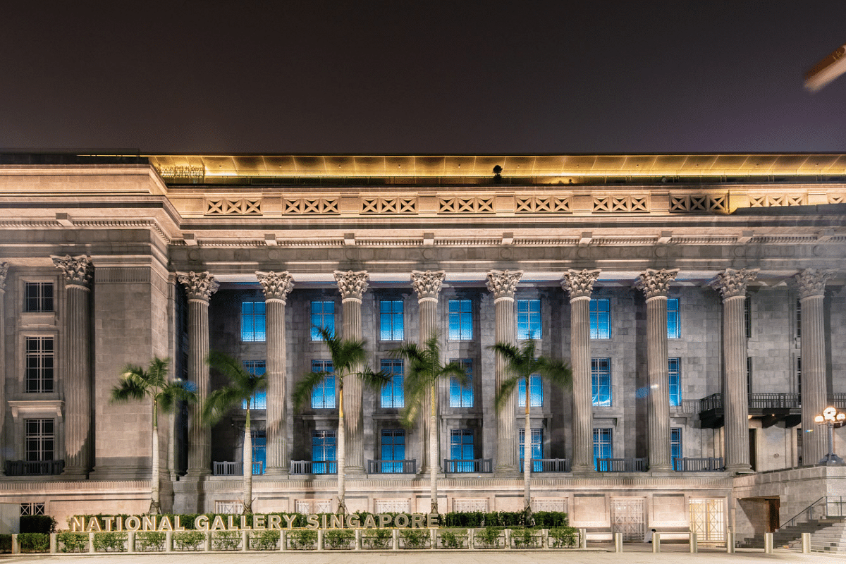 The National Gallery Singapore was also lit up in blue to commemorate UN Day.