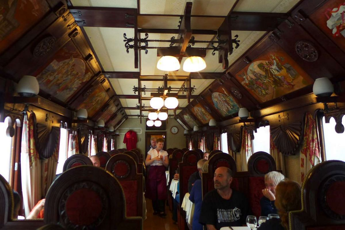 A restaurant car on the Tsar's Gold Train chugging through Siberia.