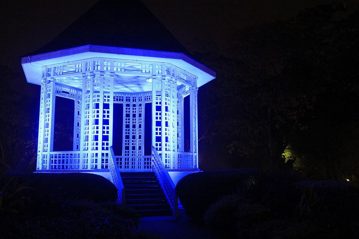 A pavillon at the Singapore Botanical Gardens  illuminated in blue light to celebrate the 70th anniversary of the United Nations.