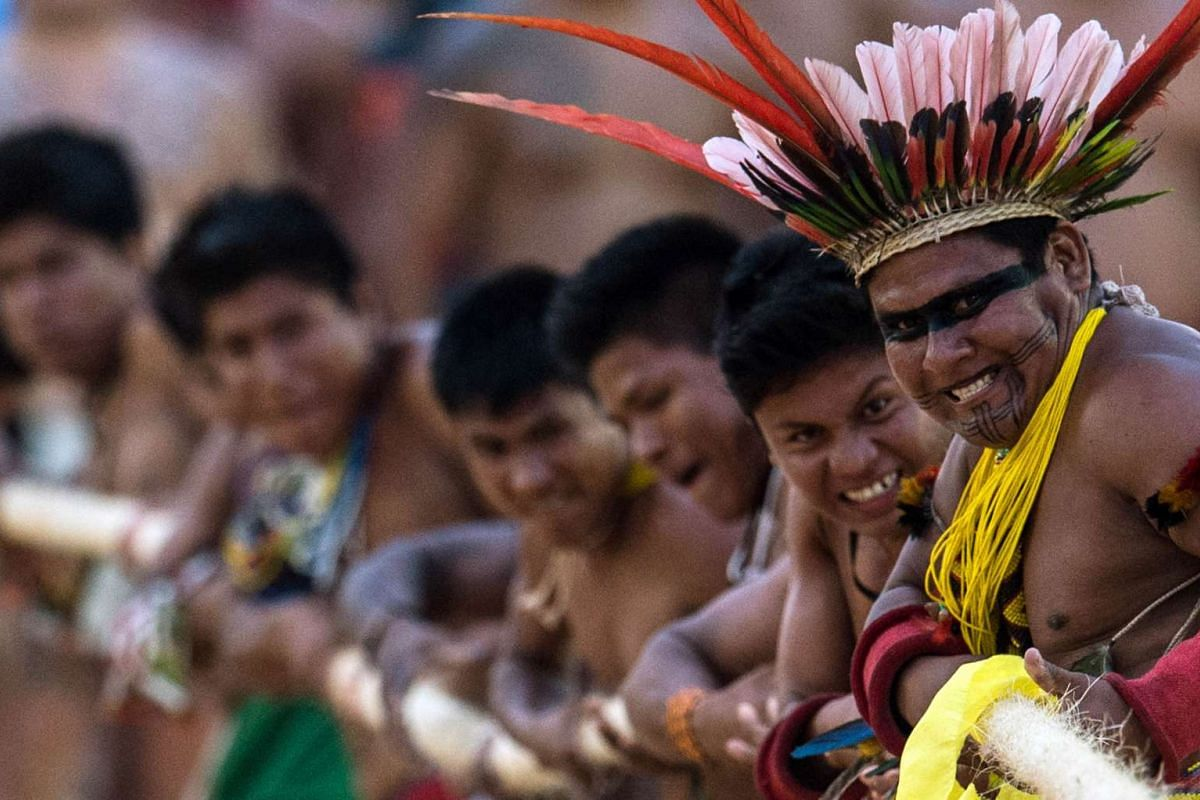 Brazilian indigenous natives participate in the tug-of-war competition of the first World Indigenous Games in Palmas, Tocantins, Brazil on Oct 25, 2015.