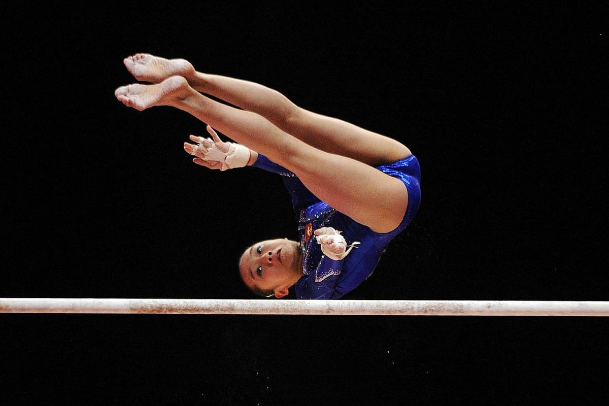 Chinese gymnast Fan Yilin performing on the uneven bars during Day 1 of the Women and Men's Apparatus Final.