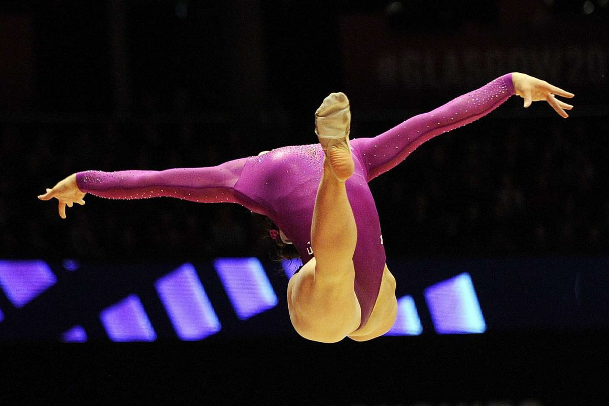 Bronze medallist Margaret Nichols of the US performing her routine during the Women's Floor final at the 2015 World Gymnastics Championship.