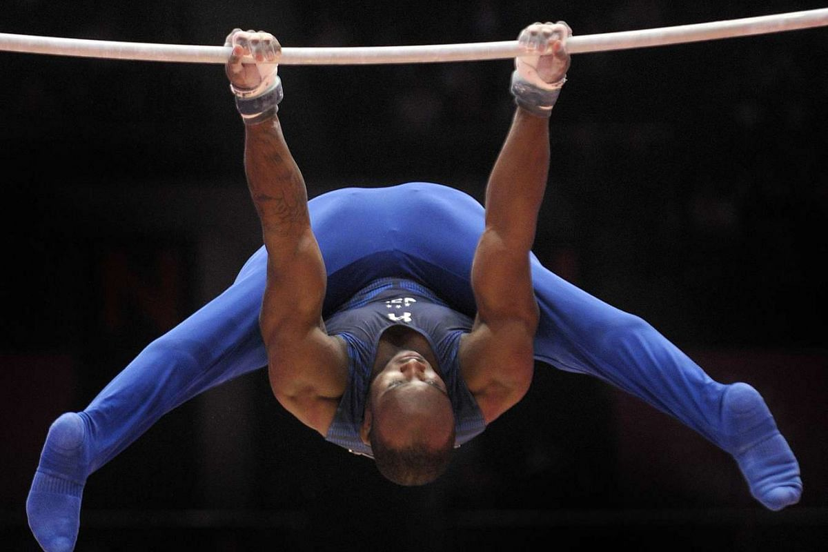 Donnell Whittenburg of the US on the horizontal bar during the fourth day of the 2015 World Gymnastics Championship.