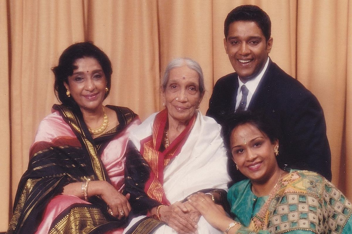 (From left) Dr Uma Rajan with her mother, son, lawyer Sanjiv and daughter, family physician Rekha. Dr Rajan (above) with her husband, who left her widowed when she was 37, and (far left) in the role of Lord Murugan in Vallithirumanam, her last perfor