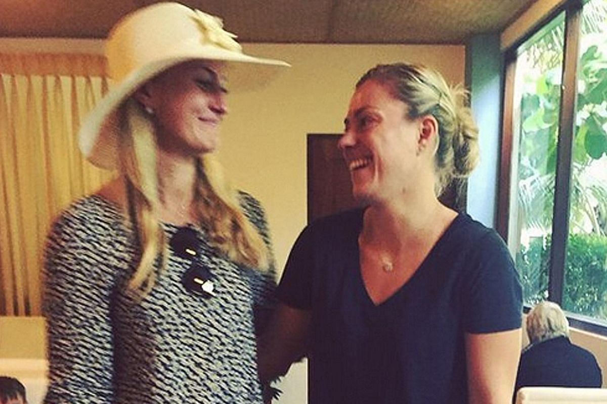 """Having left Singapore to start their off-season, Tour-mate Angelique Kerber was probably the last person French doubles player Kristina Mladenovic expected to run into: """"I mean seriously what are the chances that we meet each other on holidays?!"""" #stillca"""