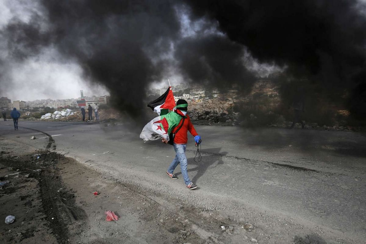 A Palestinian youth carrying his national flag and an Algerian flag during clashes between students of Palestinian universities and Israeli security forces outside the compound of the Israeli Ofer Military prison, near the West Bank town of Betunia,