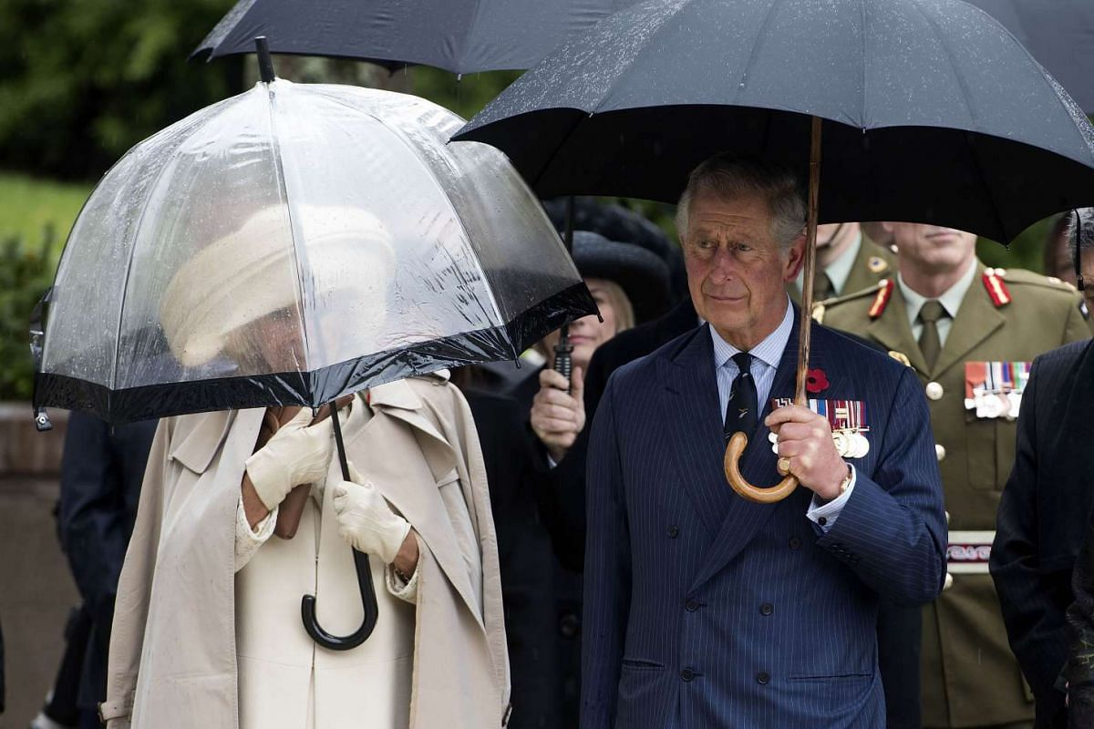 Britain's Prince Charles (right) with his wife Camilla, the Duchess of Cornwall (left), arrive at the National War Memorial in Wellington, New Zealand, on Nov 4, 2015.