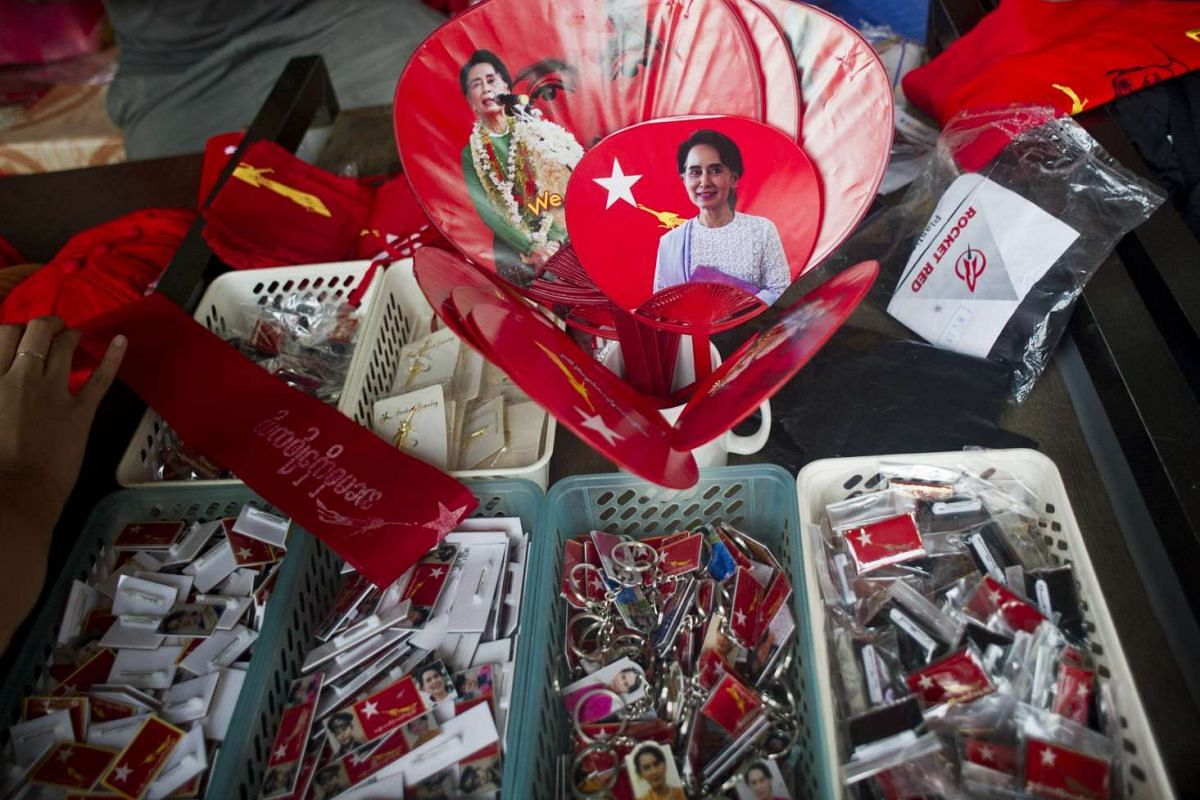 Fans with the image of National League for Democracy (NLD) leader Aung San Suu Kyi seen at an NLD souvenir shop in Yangon on Nov 9, 2015.