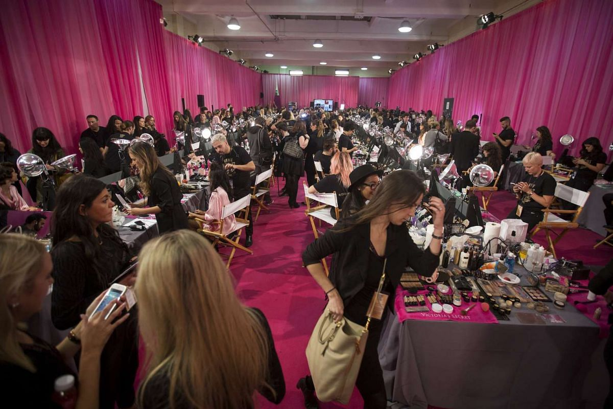 The backstage area before the Victoria's Secret Fashion Show in the Manhattan borough of New York on Nov 10, 2015.