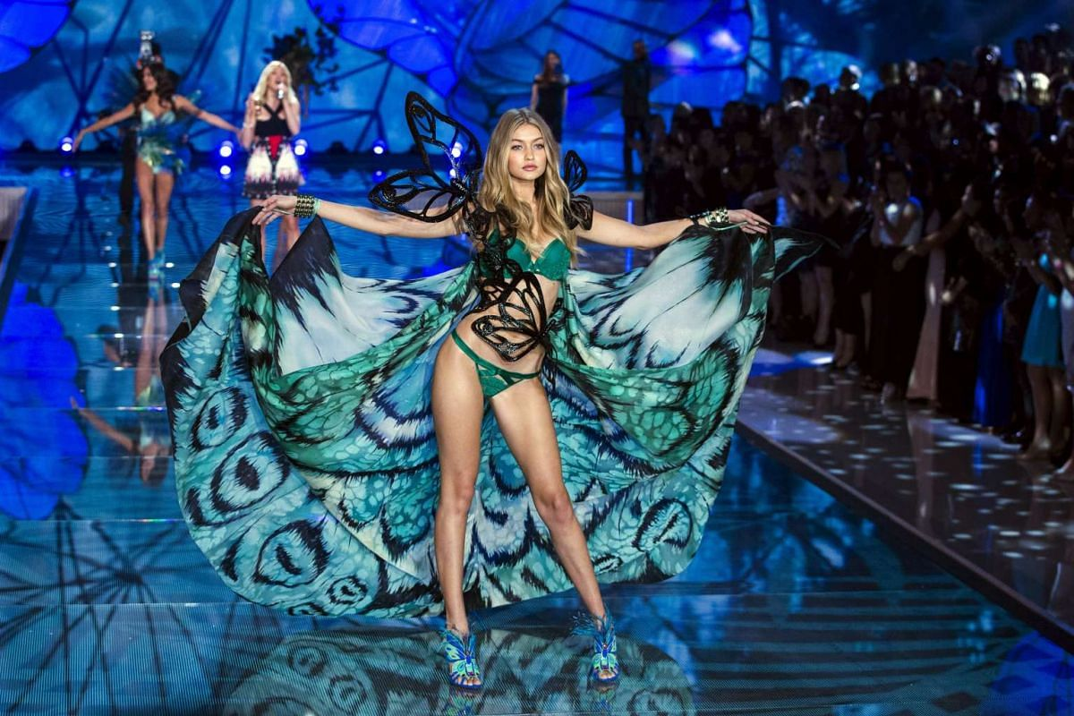 Model Gigi Hadid presents a creation during the 2015 Victoria's Secret Fashion Show in New York on Nov 10, 2015.