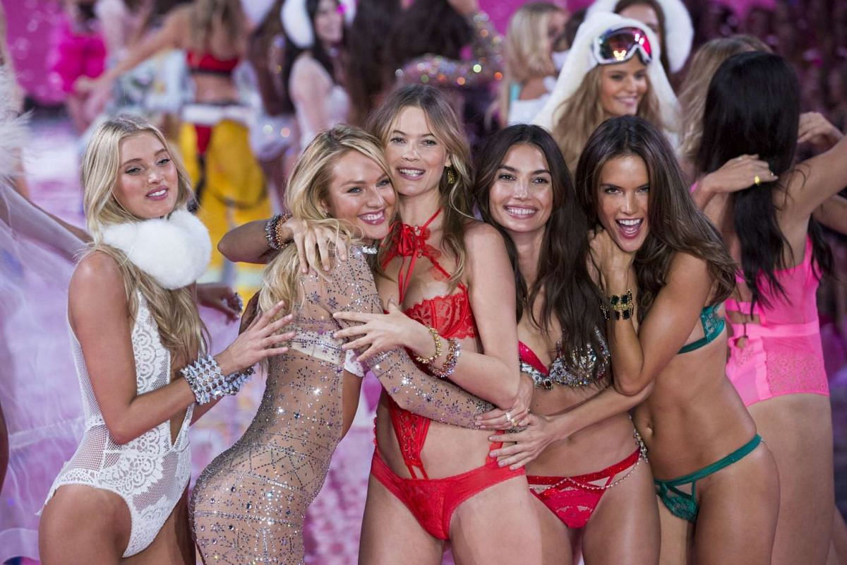 Models (from left) Martha Hunt, Candice Swanepoel, Behati Prinsloo, Lily Aldridge and Alessandra Ambrosio at the 2015 Victoria's Secret Fashion Show in New York on Nov 10, 2015.