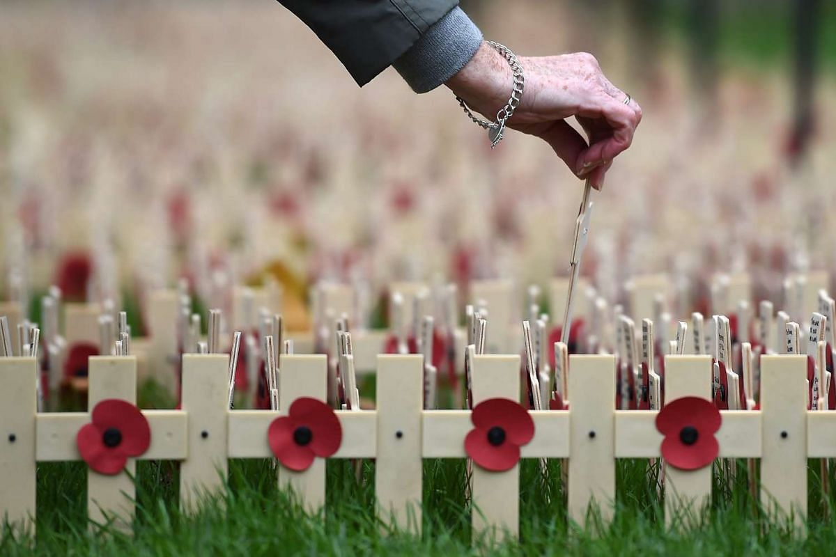 A cross is placed among thousands of poppy crosses in the grounds of Westminster Abbey at the Field of Remembrance in central London, Britain, on Nov 10, 2015.