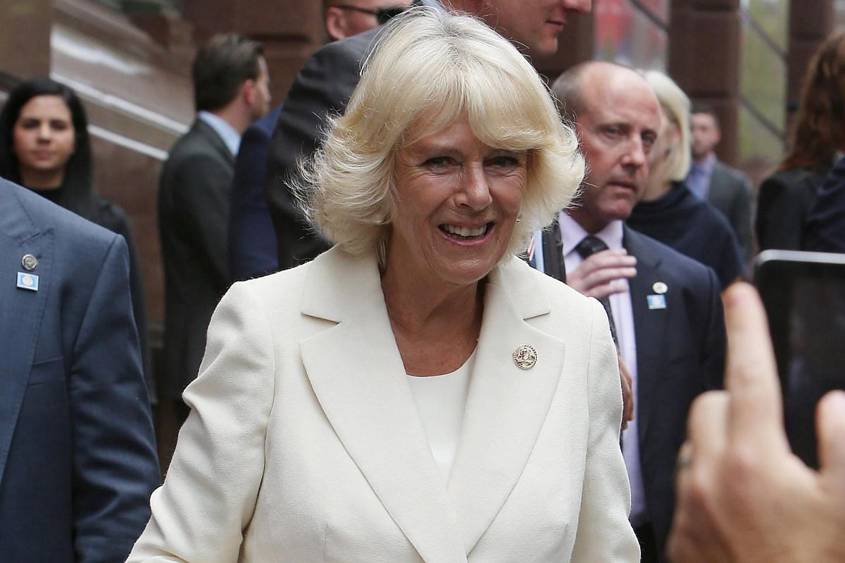 Camilla, Duchess of Cornwall, meets well-wishers during a walk at Martin Place, in Sydney, Australia, on Nov 12, 2015.