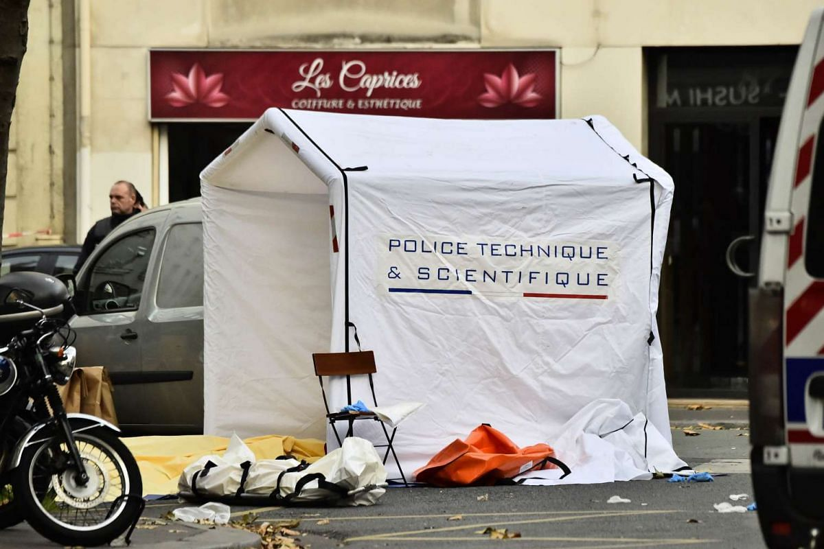 A forensic studies enclosure is pictured at the Rue de Charonne in Paris