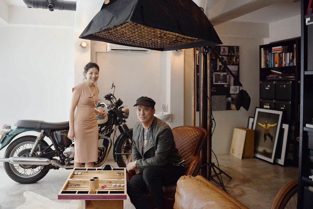 Owners Jaelle Ang and Yian Huang (above) in his home office; the hang-out area outside their Emerald Hill shophouse; and the dining area adjoining the living room.