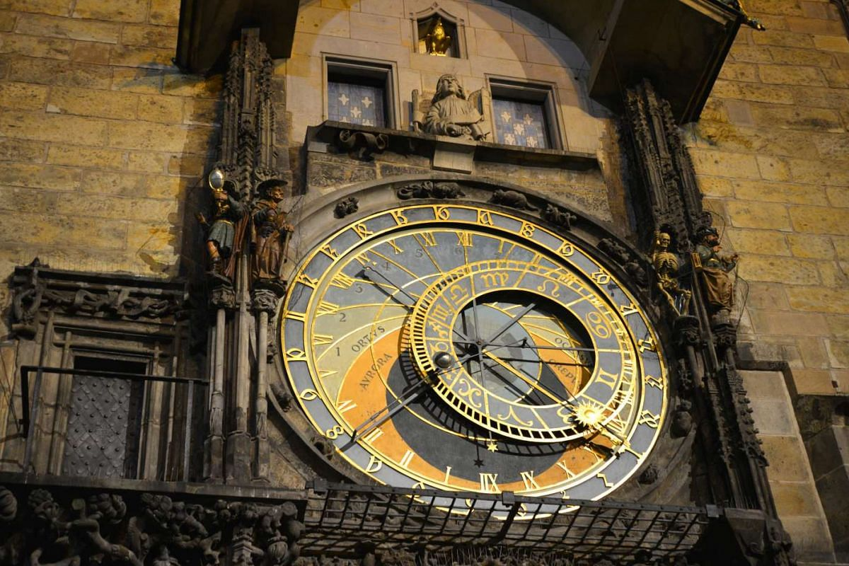 MAY 10, 9.43PM: The astronomical clock in Prague, the Czech Republic.