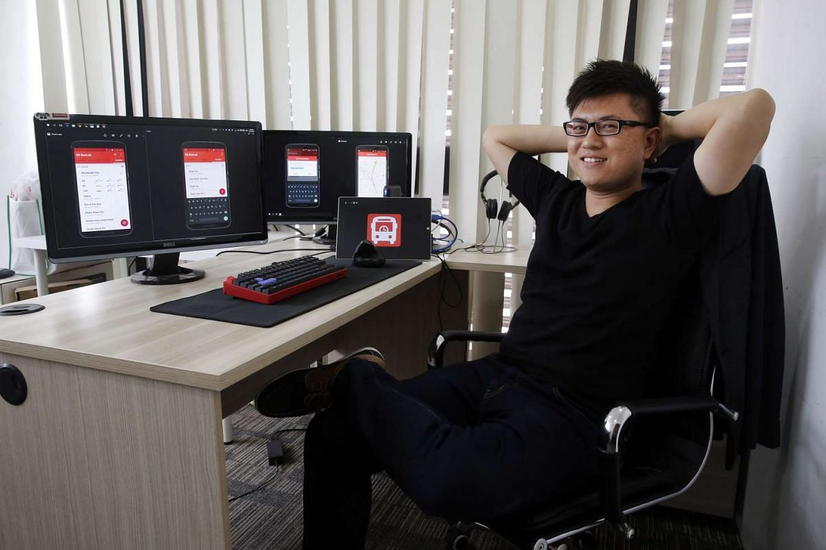 Mr Calixto Tay Wei Kiat loves working with programming codes in his job as an app developer.