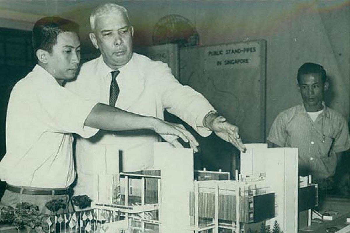 My Life So Far: Mr Lim Chong Keat (far left), who designed the Singapore Conference Hall, showing then Law And Health Minister K. M. Bryne a model of the building in 1962. It was built in 1965.