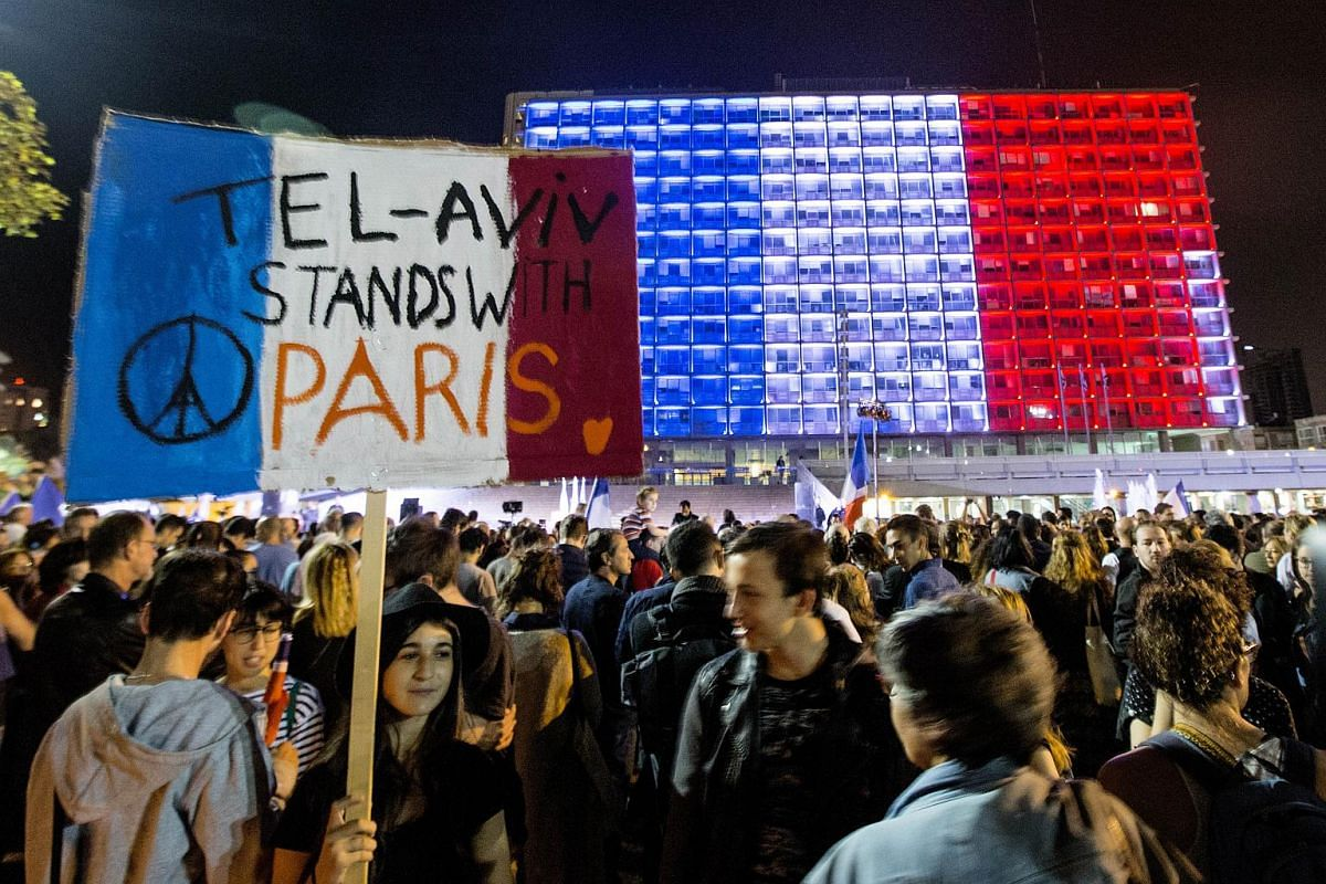The Tel Aviv city hall lit with the colours of the French national flag in Rabin Square in the Israeli coastal city of Tel Aviv.