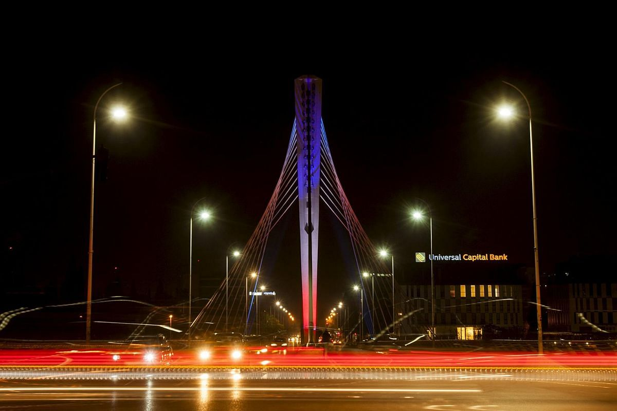 Podgorica's Millennium bridge illuminated with the colours of French flag Podgorica, Montenegro.
