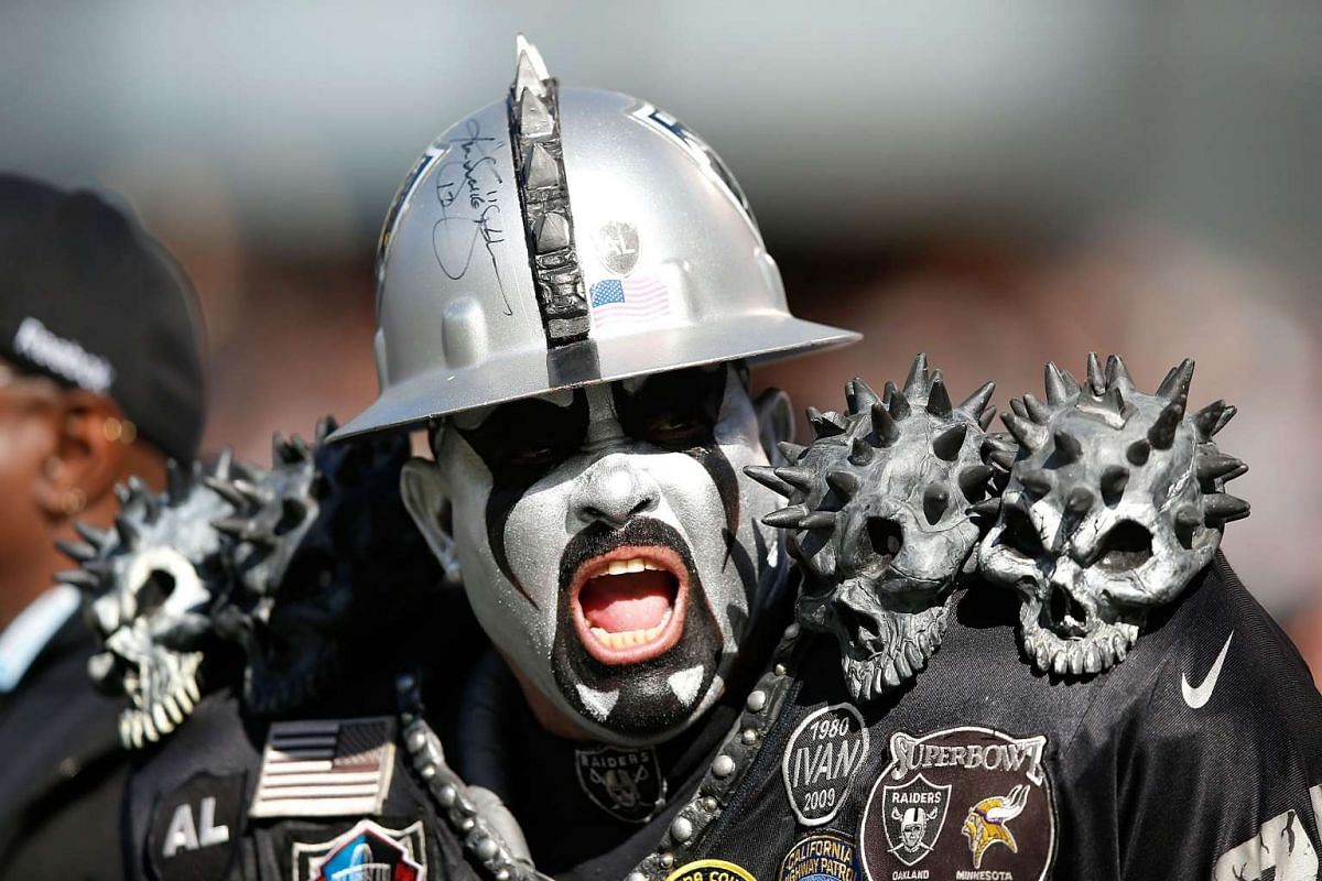A fan of the Oakland Raiders during his team's game against the Minnesota Vikings at O.co Coliseum on Nov 15, 2015 in Oakland, California.