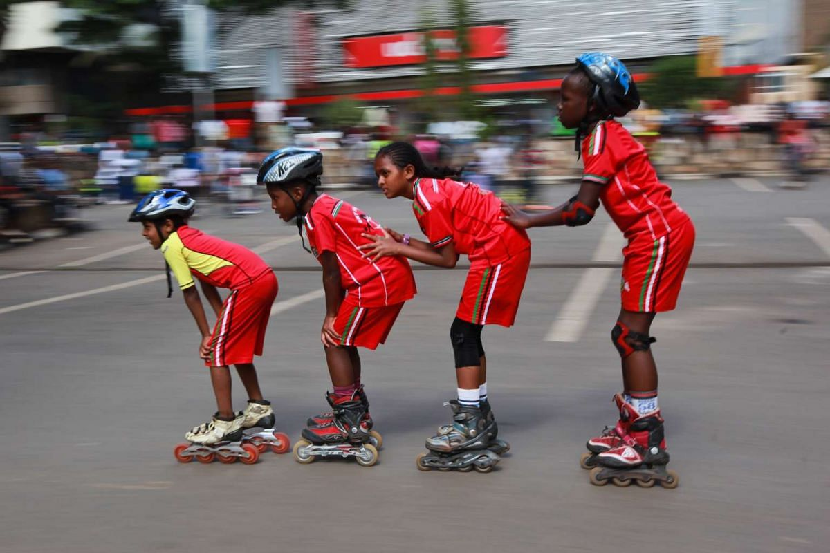Young Kenyan skaters practising in Nairobi on Nov 15, 2015. The sport has recently become a new hobby for many Kenyans.