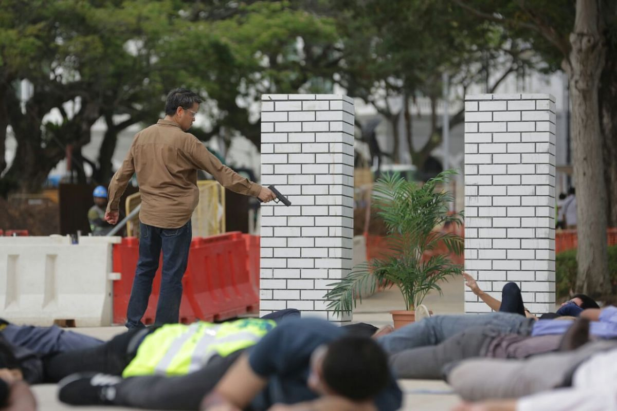 The second scenario at Esplanade Park involves two different types of attacks - an improvised explosive device (IED) explosion and a gunman shooting (pictured).