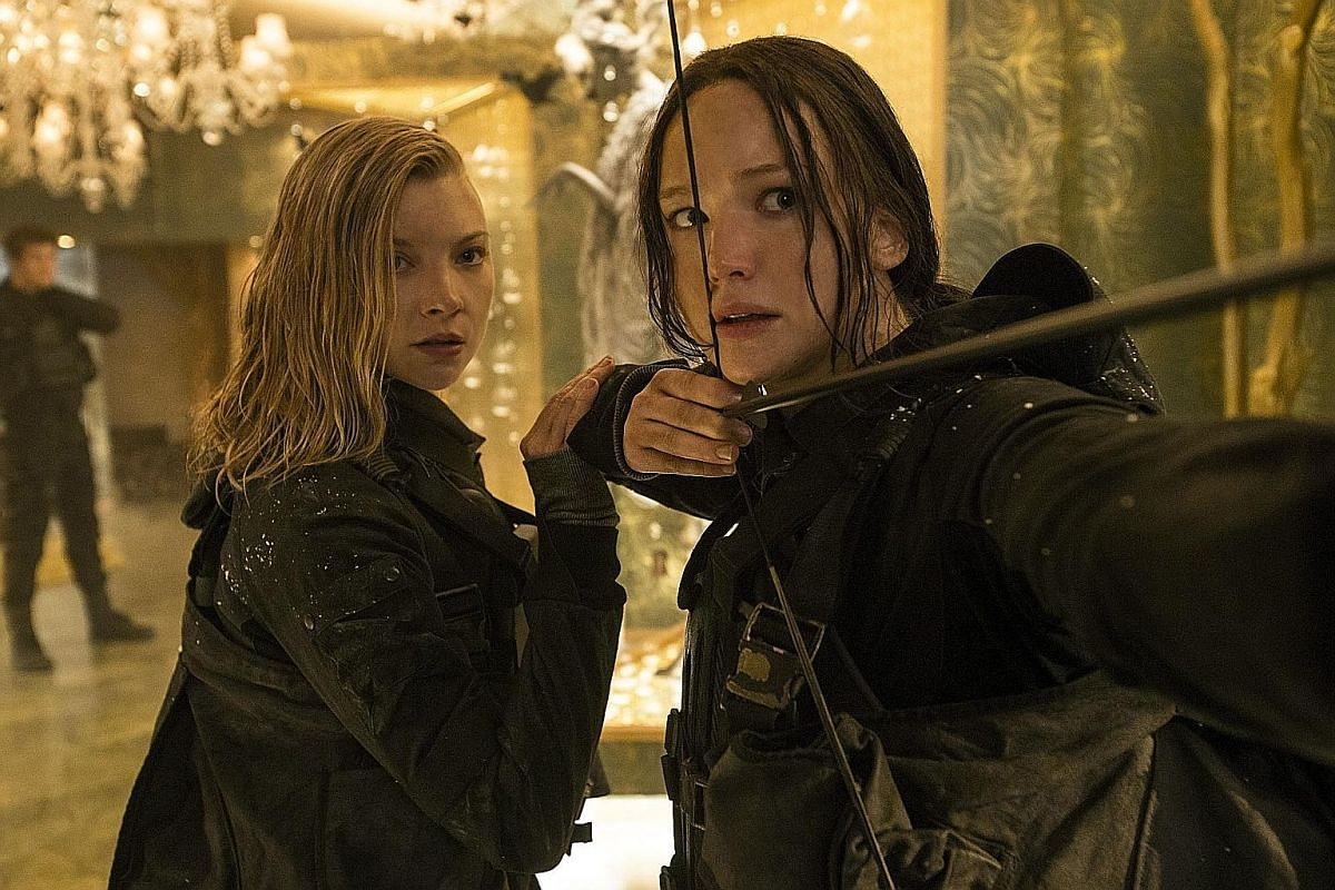 Jennifer Lawrence (right) and Natalie Dormer (left) in The Hunger Games: Mockingjay Part 2.