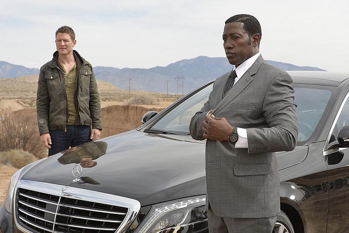 Wesley Snipes (above right) is a pit boss and Philip Winchester (above left) is a security expert in The Player.