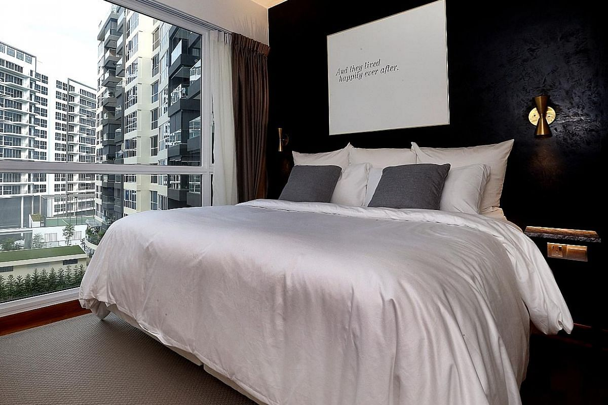 The couple's Simmons bed (above) is the type used in Westin hotels. Plants such as wild orchids, petunias and a pinwheel jasmine tree grow in the balcony garden. The yard (left) where Mr Chang cooks. Mr Terry Chang and Ms Chen Xianhui entertain often