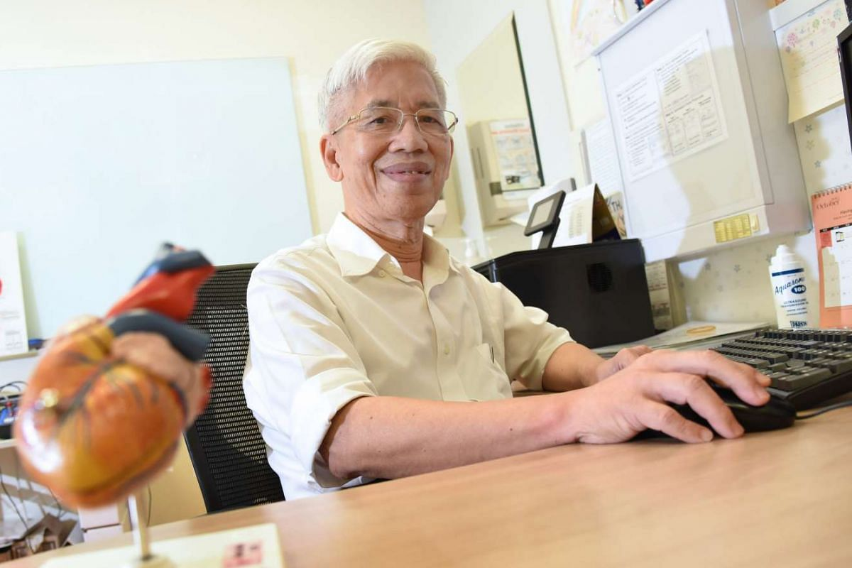 Besides seeing patients four afternoons a week, paediatrician Phua Kong Boo, 74, also mentors doctors and does ward rounds.