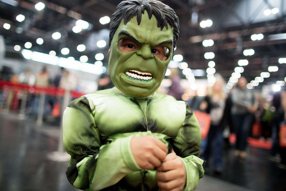 A boy dressed up as Hulk poses for photographers during the VIECC Vienna Comic Con, Vienna, Austria, on Nov 22, 2015.