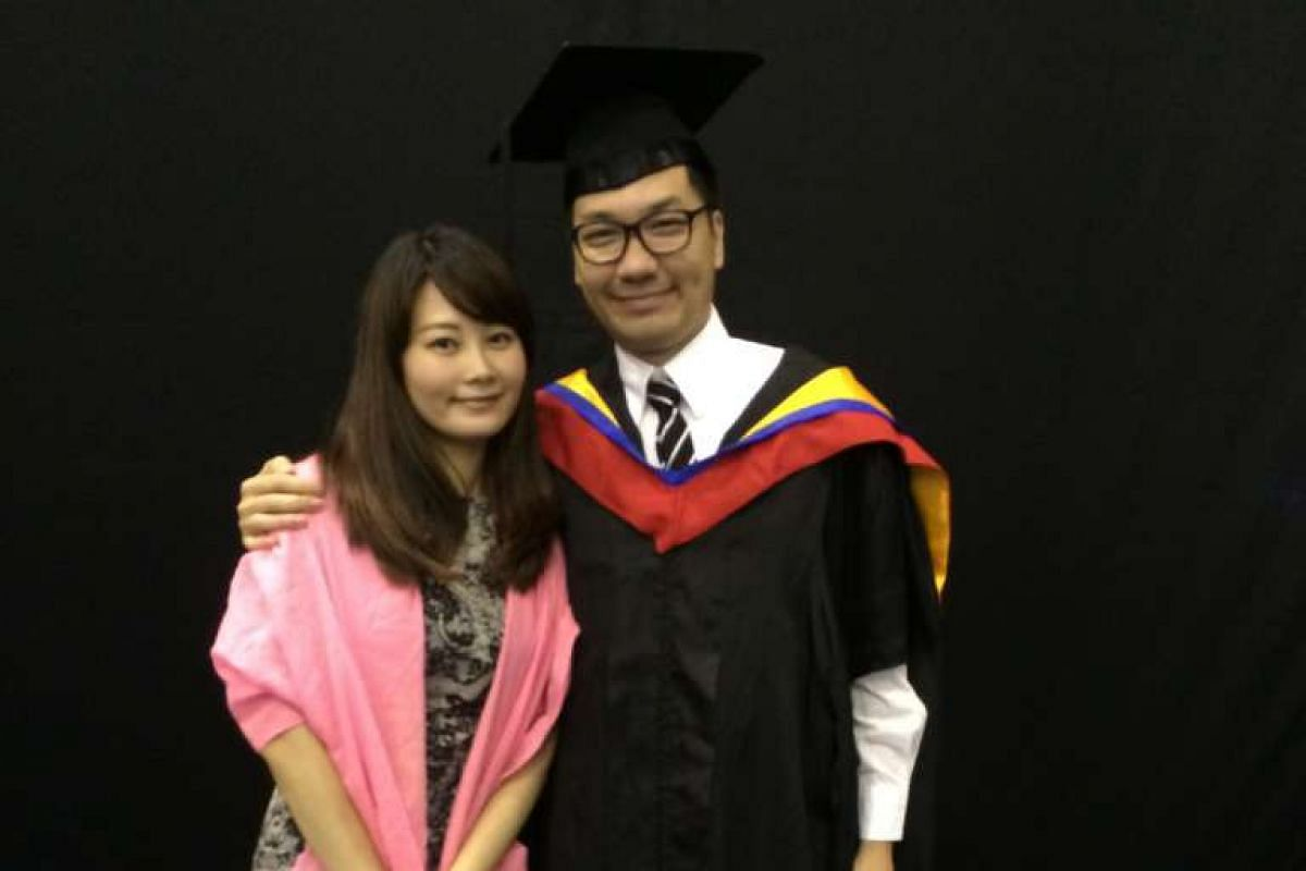 My Life So Far: Tan with his wife Talia Huang (both above) at his graduation from his master's course earlier this year.