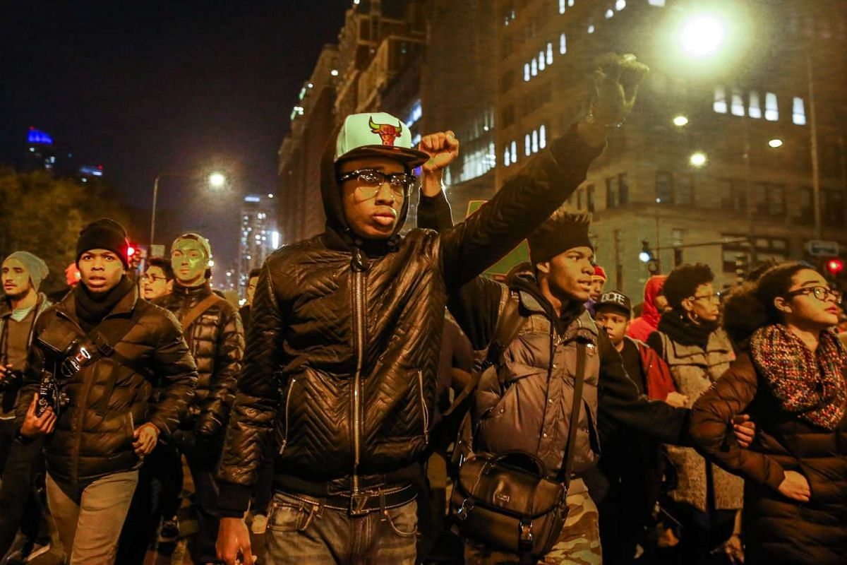 Protesters take to the streets after the release of a video showing Chicago police officer Jason Van Dyke, shooting 17 year old Laquan McDonald on Oct 20, 2014, in Chicago, Illinois, USA, Nov 24, 2015.