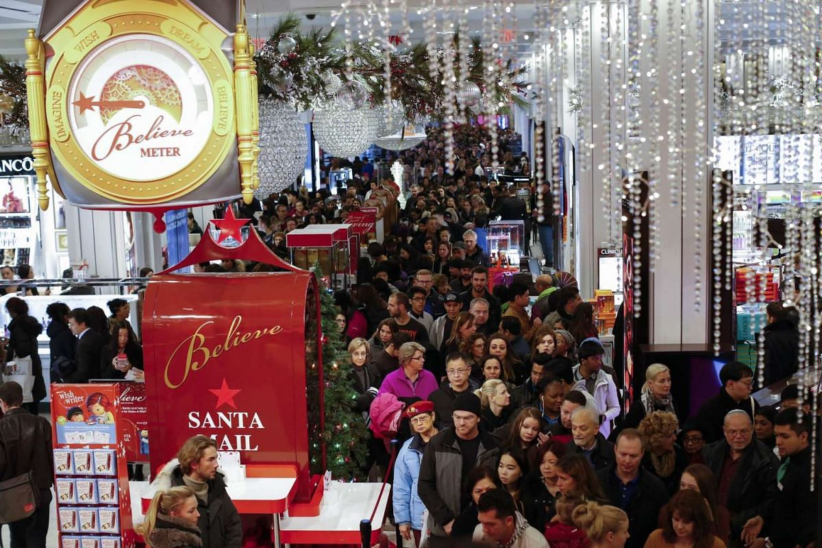 Customers streaming into Macy's flagship store in Herald Square on Thanksgiving evening for early Black Friday sales on Nov 26, 2015, in New York City.
