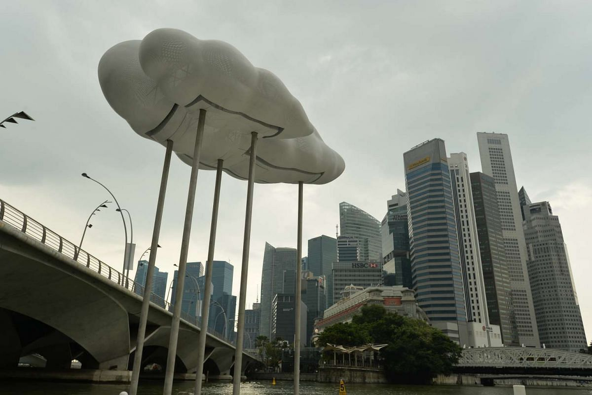 Cloud Nine: Raining will appear to rise out of the Singapore River.