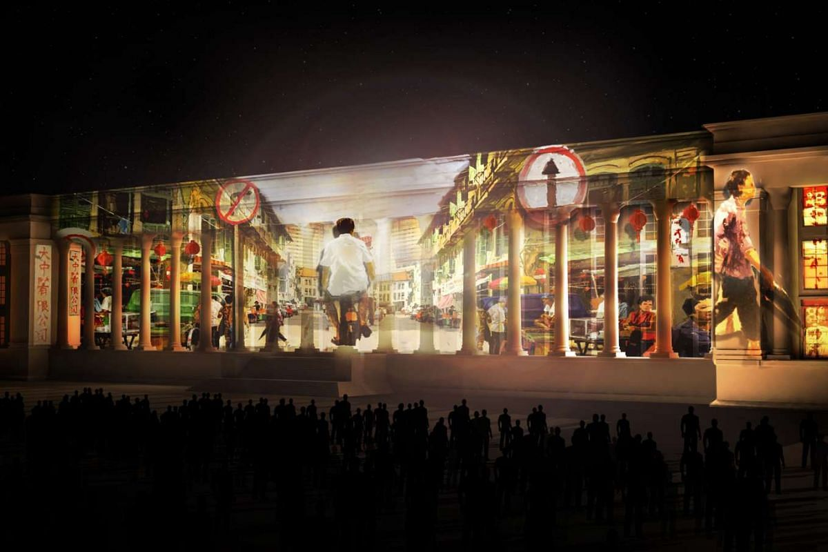 An artist's impression of the Share The Hope show projected on the facade of the National Gallery Singapore.