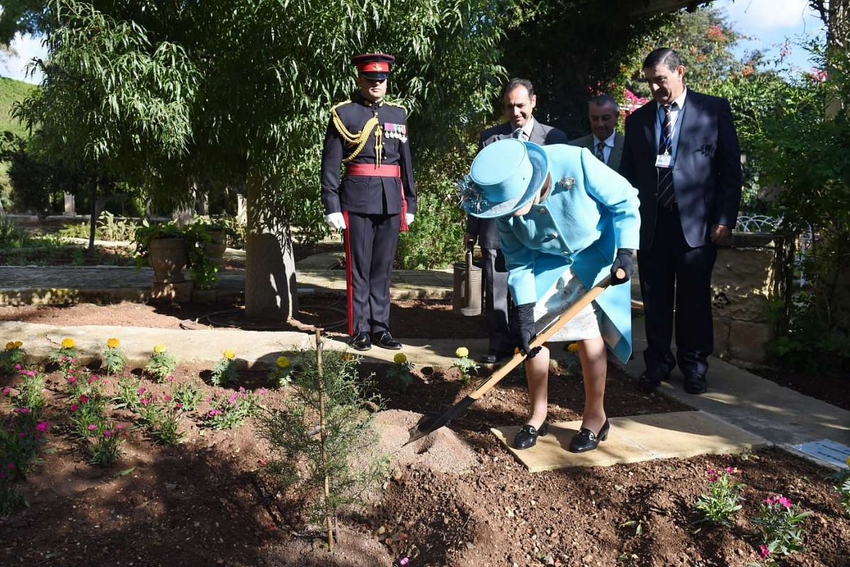 Britain's Queen Elizabeth II plants a native Maltese tree in the gardens of the San Anton Palace, in Valletta, Malta, on Nov 28, 2015. Commonwealth leaders meeting in Malta from Nov 27 to 29, 2015 will address global issues such as climate change, bu
