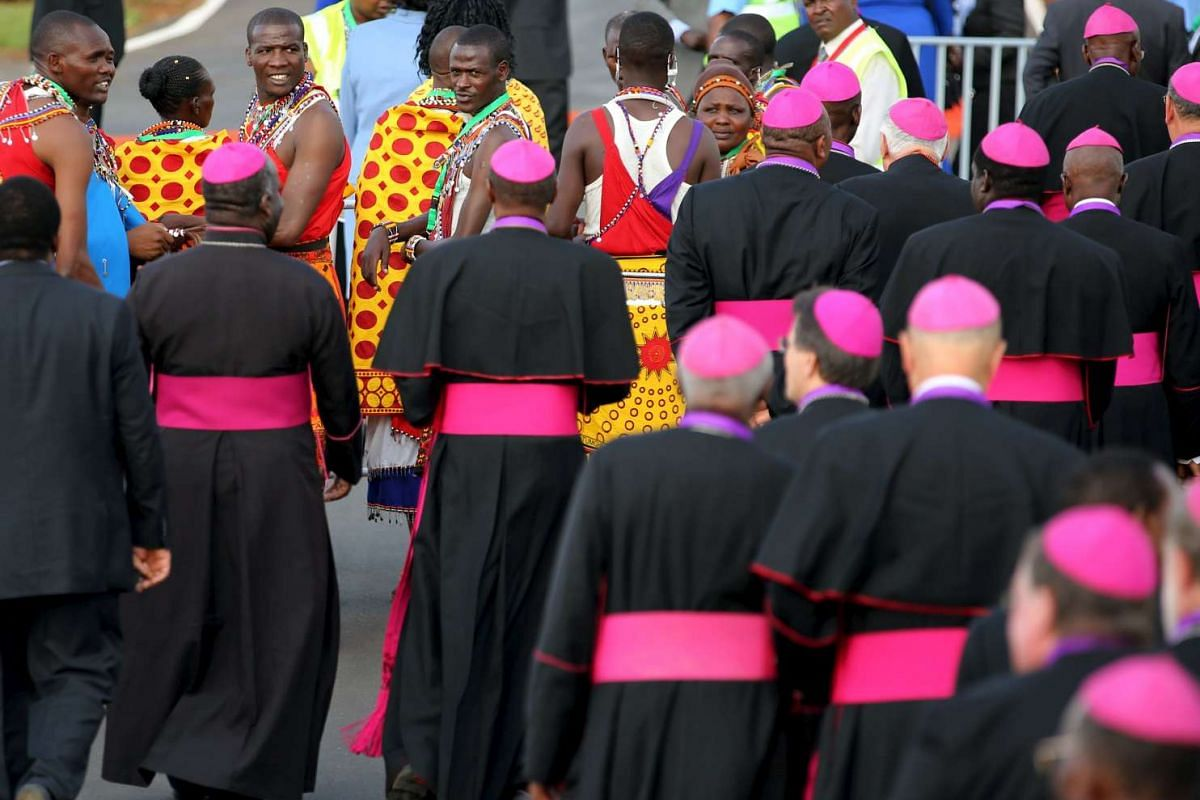 Members of Maasai tribe waiting to greet Pope Francis at Jomo Kenyatta International Airport in Nairobi, Kenya, on Nov 25, 2015