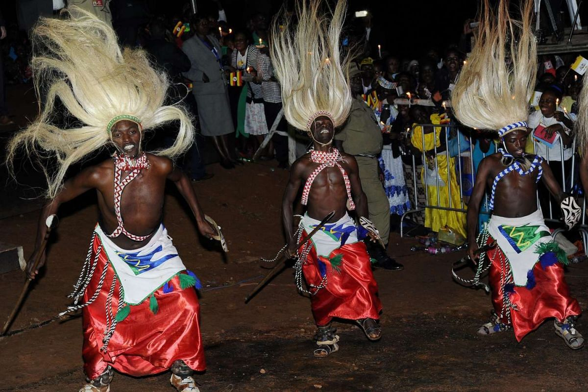 Traditional dancers performing at the arrival of Pope Francis at the Munyonyo Martyrs' Shrine in the neighborhood of Kampala, Uganda, on Nov 27, 2015.