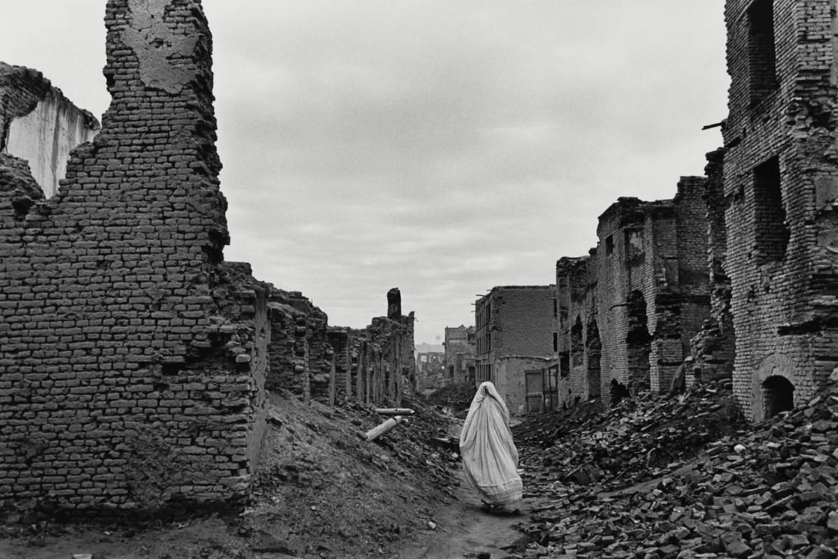 Ruins of Kabul from civil war, Afghanistan, 1996.