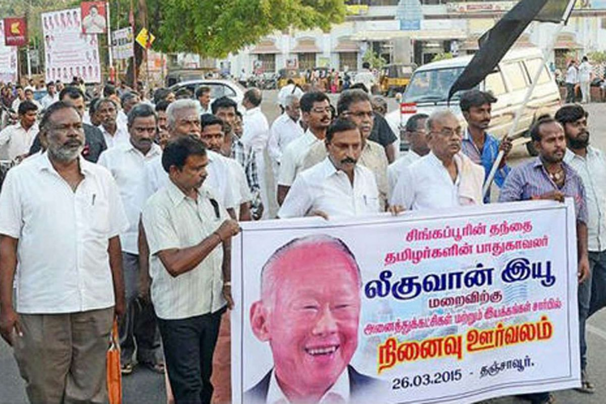 People of Thanjavur in the South Indian state of Tamil Nadu holding a procession in memory of Mr Lee Kuan Yew on March 26. India declared a day of national mourning on March 29, the day of Mr Lee's funeral.