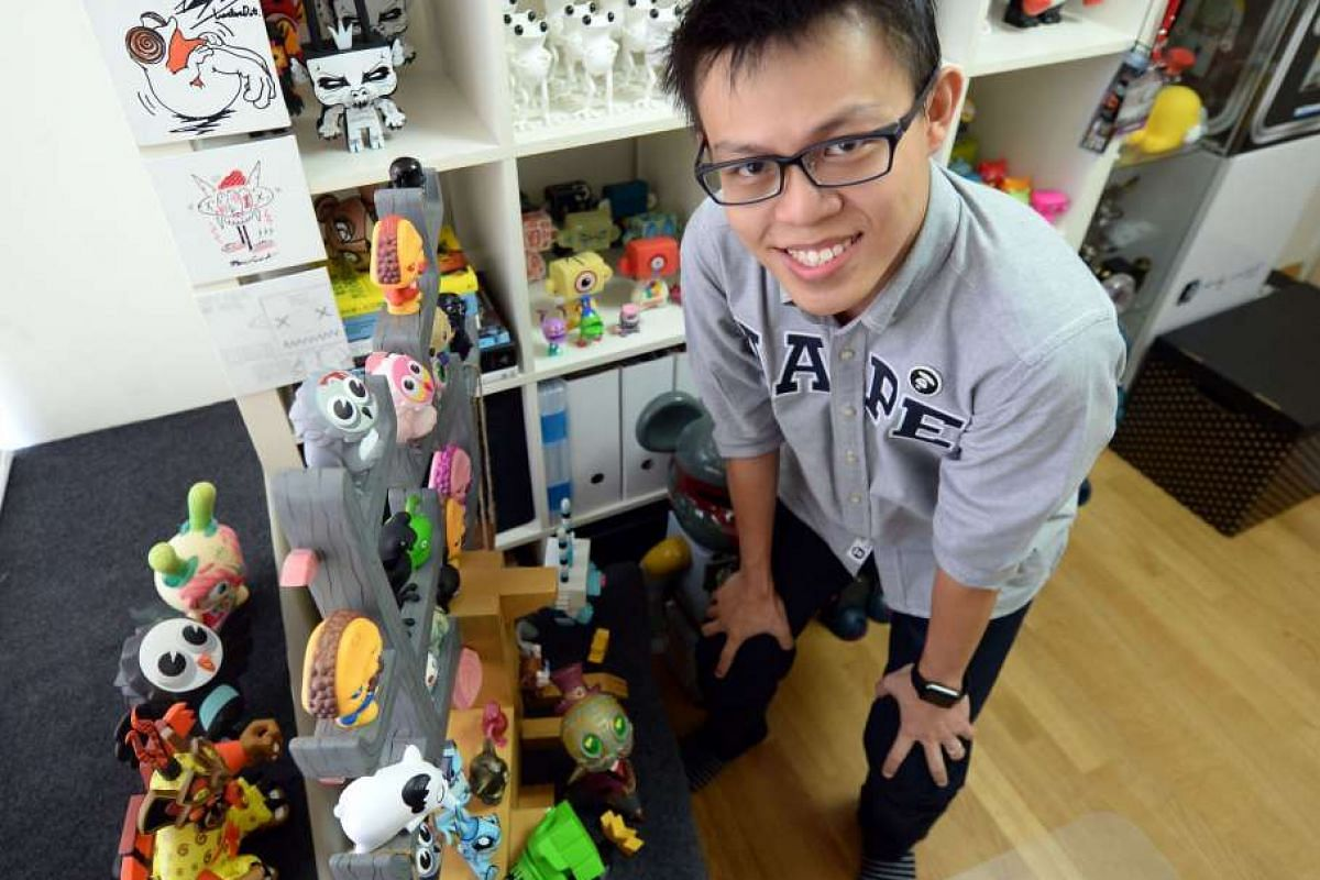 Mr Daniel Yu and Mr Jake Lee (above) have turned their toy-making hobbies into careers. Singapore company Flabslab also produces toys, such as this figurine The Ghost Of Kurosaw, which was designed by Philippines based toy designer Juanito Maiquez.